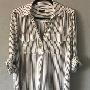 BEAUTIFUL Ann Taylor White Blouse with Pinstripes